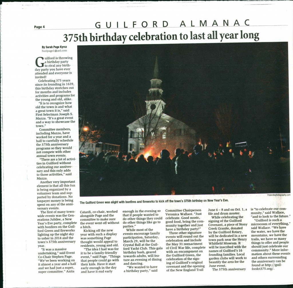 Seen in the 2014 Guilford Almanac published in January by Shoreline Times/ New Haven Register