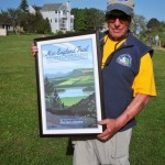 Local hiker and organizer extraordinaire, Paul Mei, with one of the commemorative New England Trail posters
