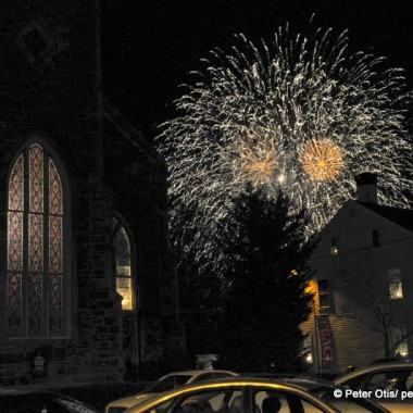 New Year's Eve Fireworks, 375th Celebration Kickoff, 2013 with Christ Episcopal Church and Rectory in Foreground, Guilford, CT