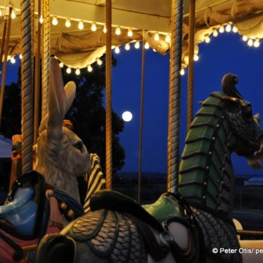Super Moon and Orange County Great Park Carousel, Irvine, CA