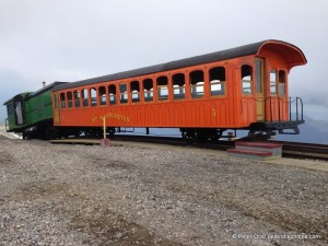 Cog Railway passenger car and biodiesel engine at the summit