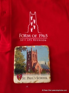 ur class reunion shirt and coaster, depicting the footprints that showed up Spring 1965