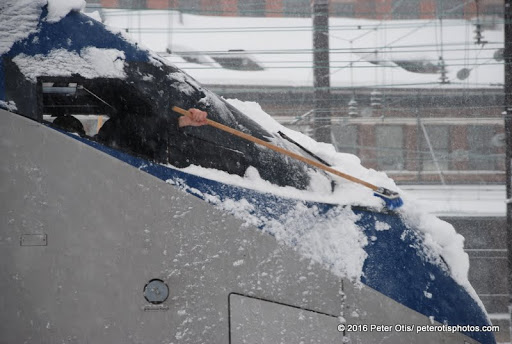 Amtrak or MARC train- engineer clearing out annoying snow and ice