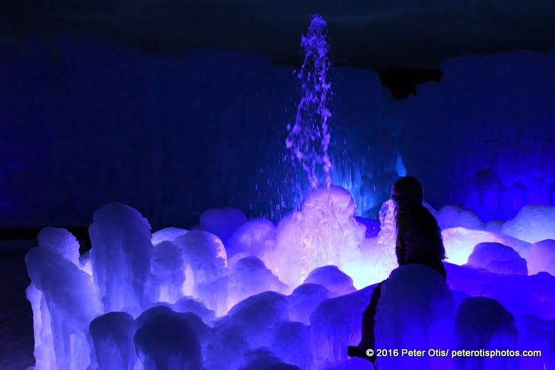 Ice Castle NH- enjoying the fountain