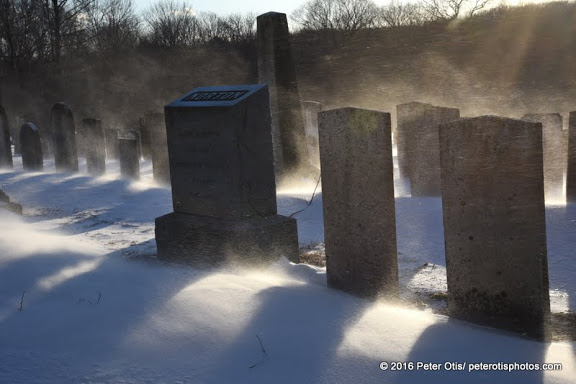 Blasting through the grave markers, North Guilford Cemetery